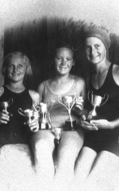 Narrabeen Ladies Amateur Swimming Club members: Nita May, Anne Hatton and Phyllis May, ca. 1935
